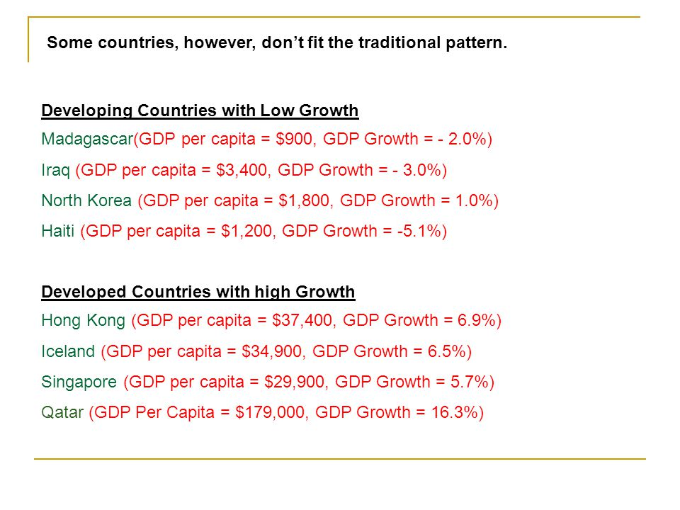 Some countries, however, don't fit the traditional pattern.