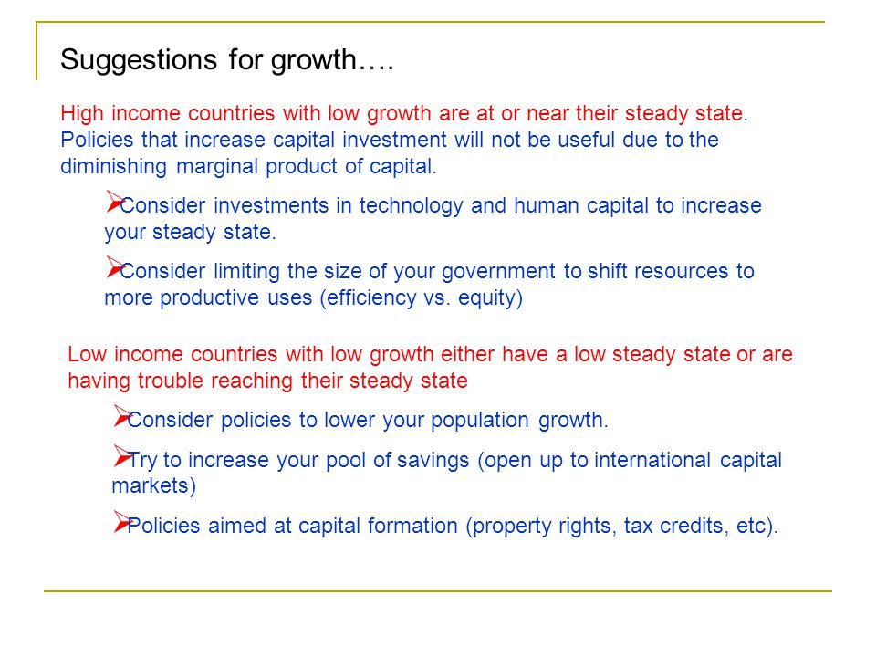 Suggestions for growth….