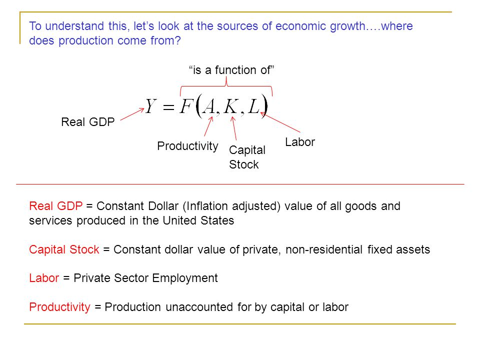 To understand this, let's look at the sources of economic growth…