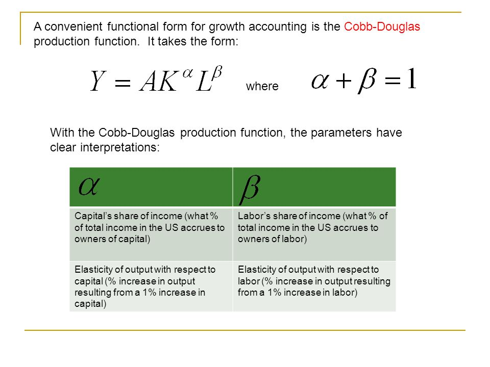 A convenient functional form for growth accounting is the Cobb-Douglas production function. It takes the form: