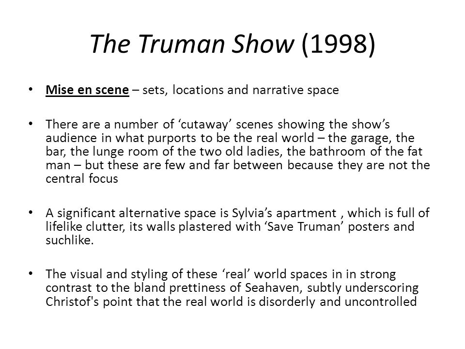 the truman show mise en scene ppt video online 11 the