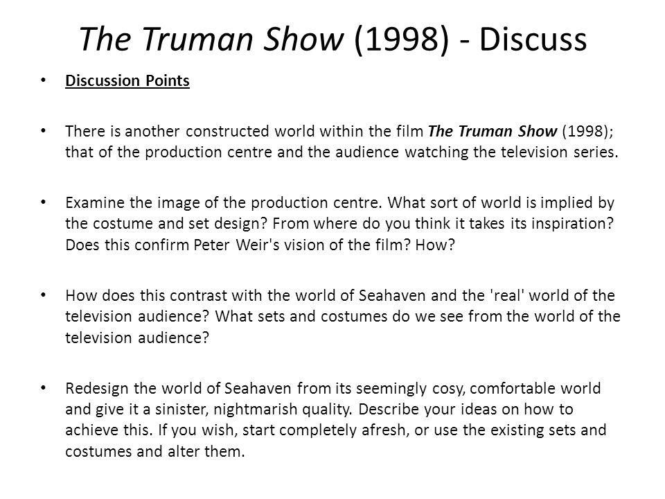The Truman Show (1998) - Discuss