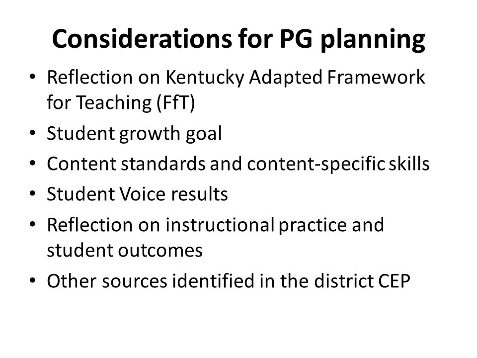 Considerations for PG planning
