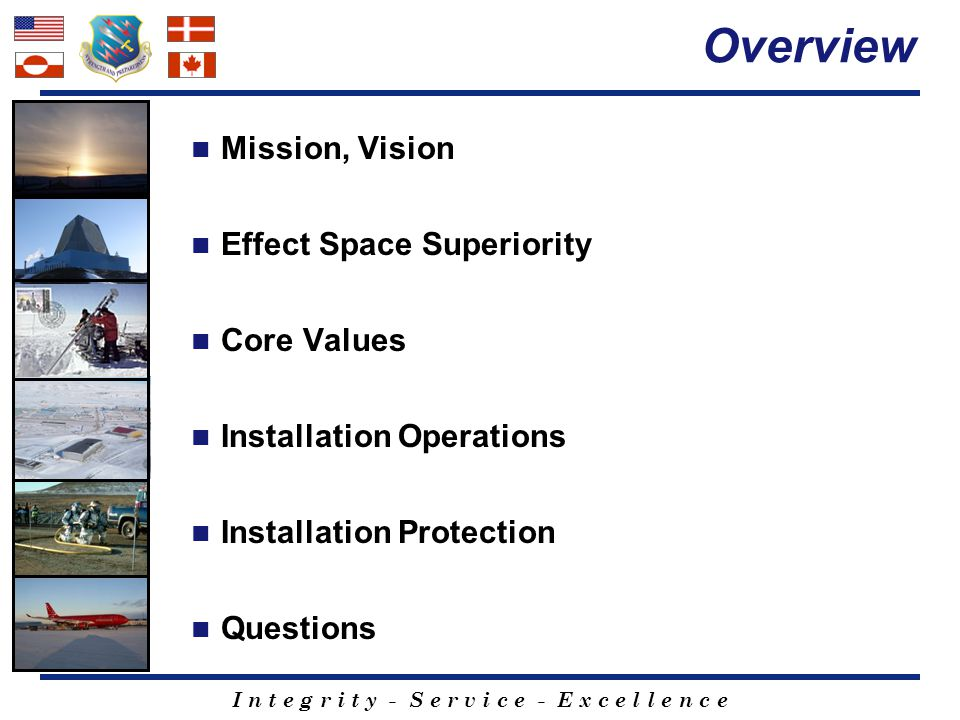 Overview Mission, Vision Effect Space Superiority Core Values
