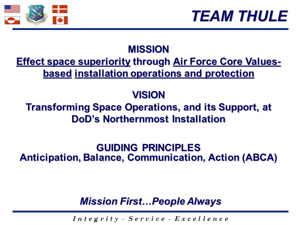TEAM THULE MISSION. Effect space superiority through Air Force Core Values-based installation operations and protection.
