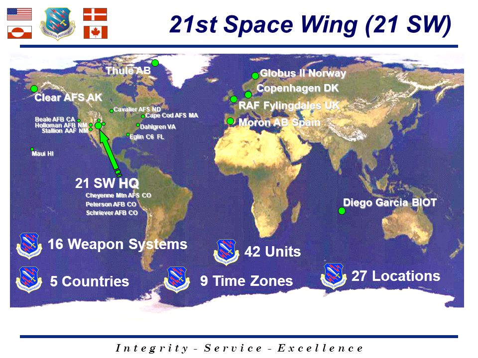 21st Space Wing (21 SW) 16 Weapon Systems 42 Units 27 Locations