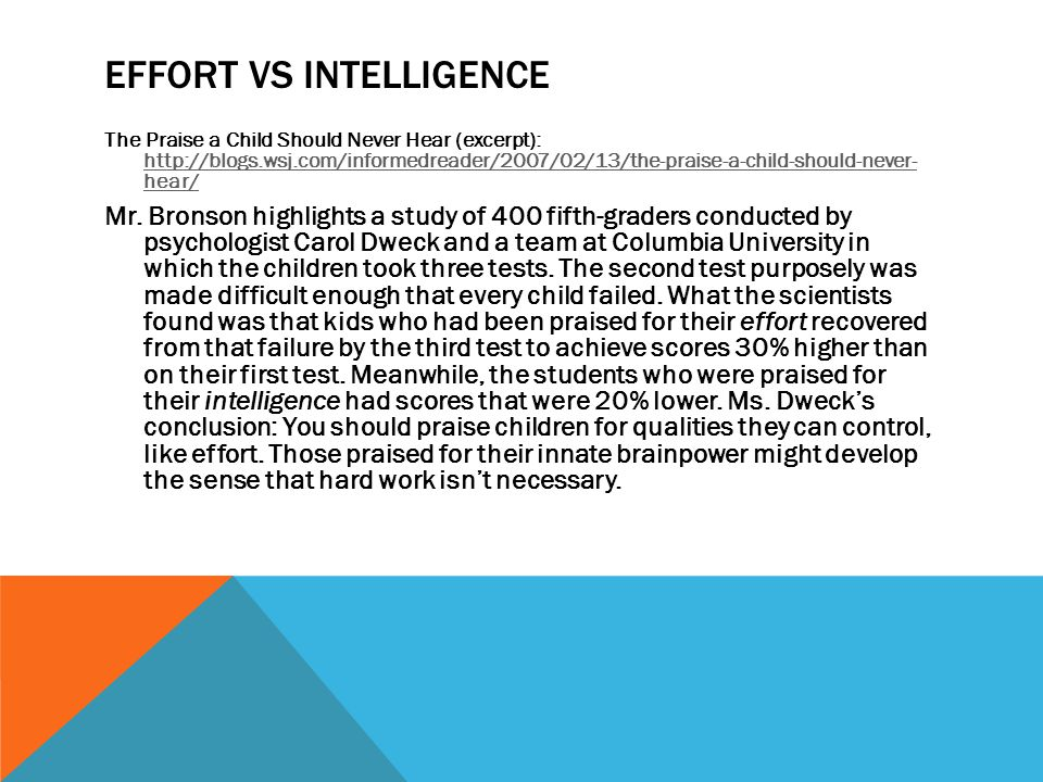 Effort vs intelligence