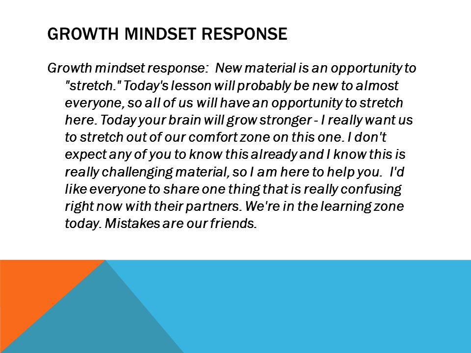 Growth Mindset response