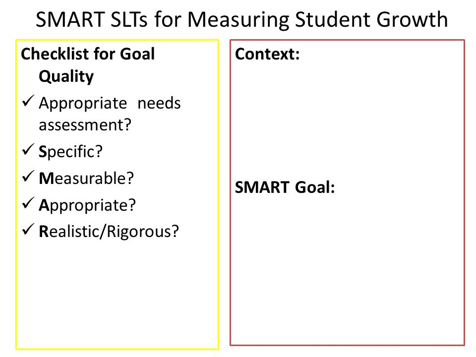 SMART SLTs for Measuring Student Growth