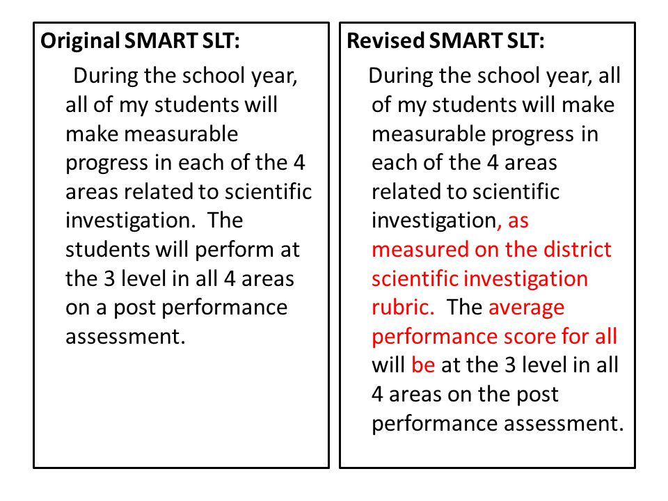 Original SMART SLT: During the school year, all of my students will make measurable progress in each of the 4 areas related to scientific investigation. The students will perform at the 3 level in all 4 areas on a post performance assessment.