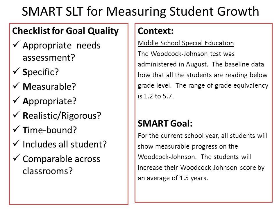 SMART SLT for Measuring Student Growth