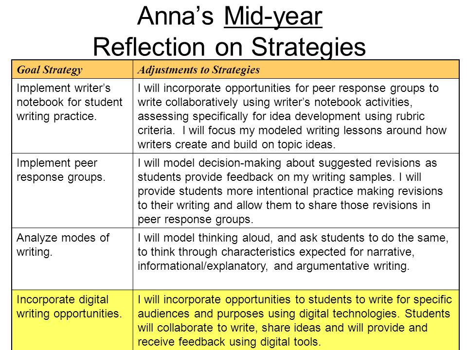 Anna's Mid-year Reflection on Strategies