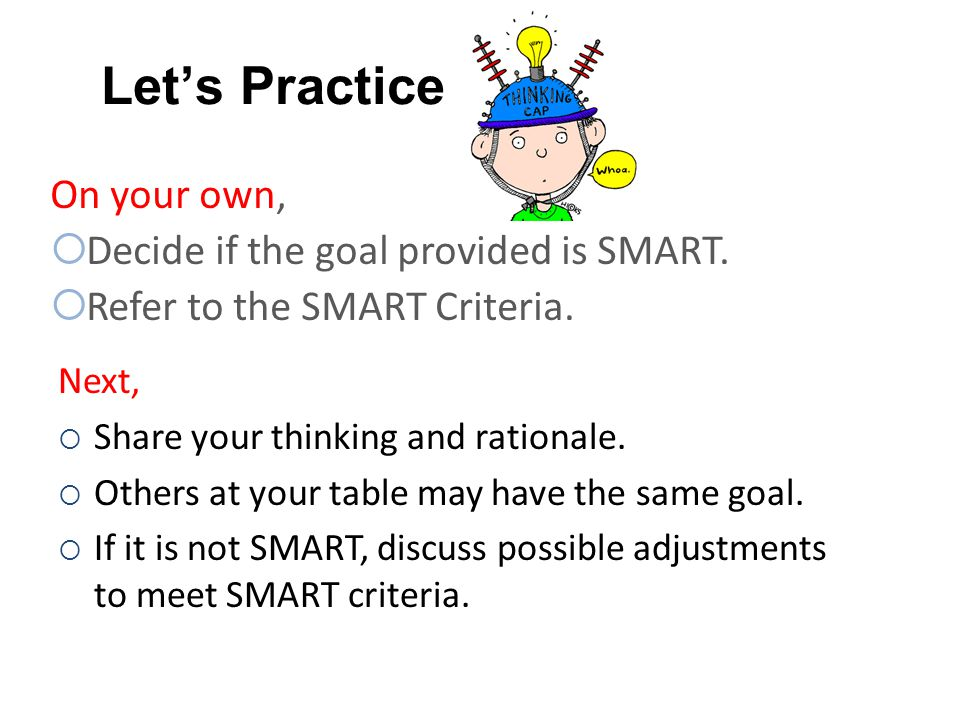 Let's Practice On your own, Decide if the goal provided is SMART.