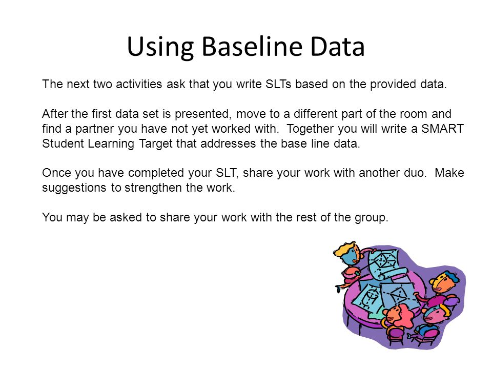 Using Baseline Data The next two activities ask that you write SLTs based on the provided data.