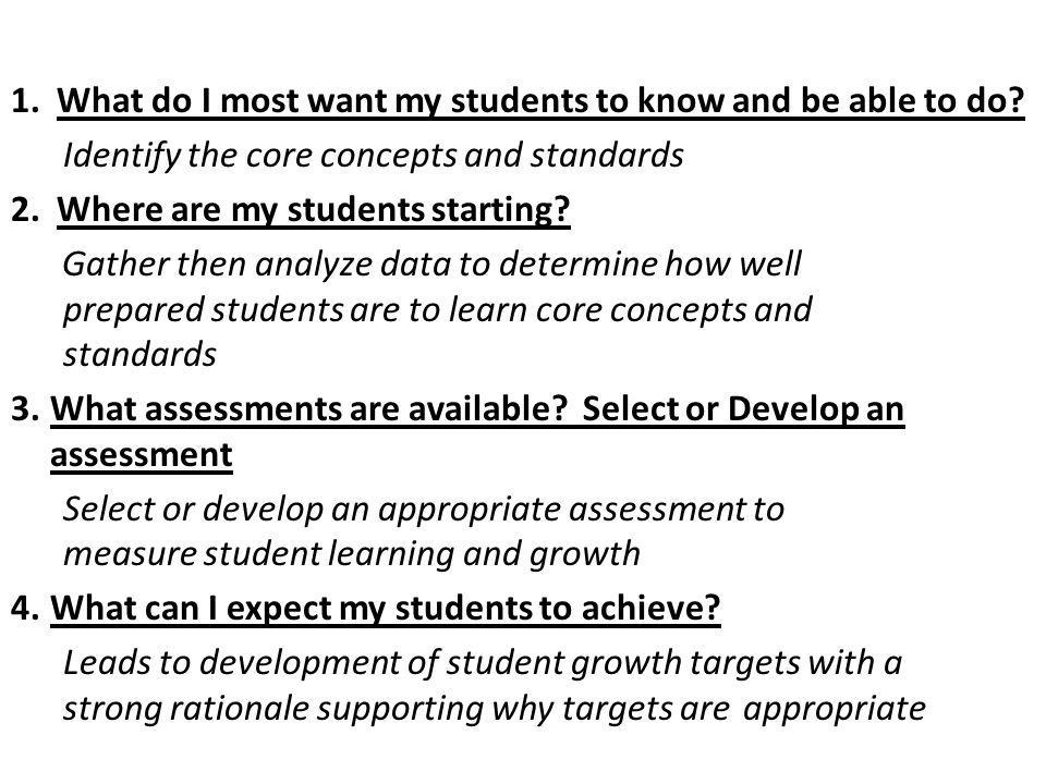 1. What do I most want my students to know and be able to do
