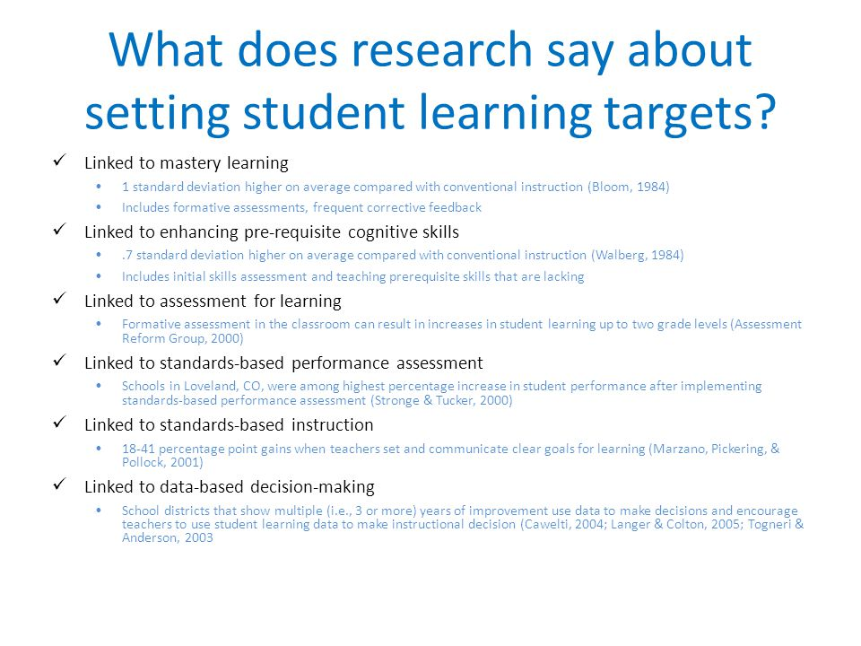 What does research say about setting student learning targets