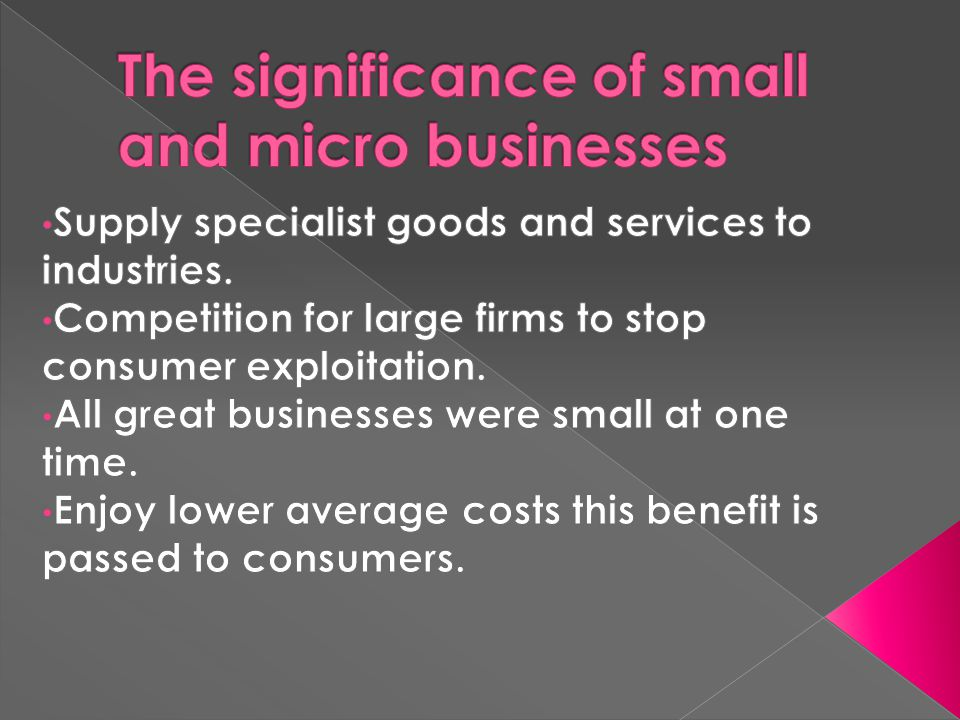 The significance of small and micro businesses