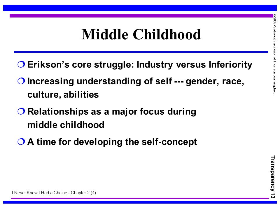 Middle Childhood Erikson's core struggle: Industry versus Inferiority
