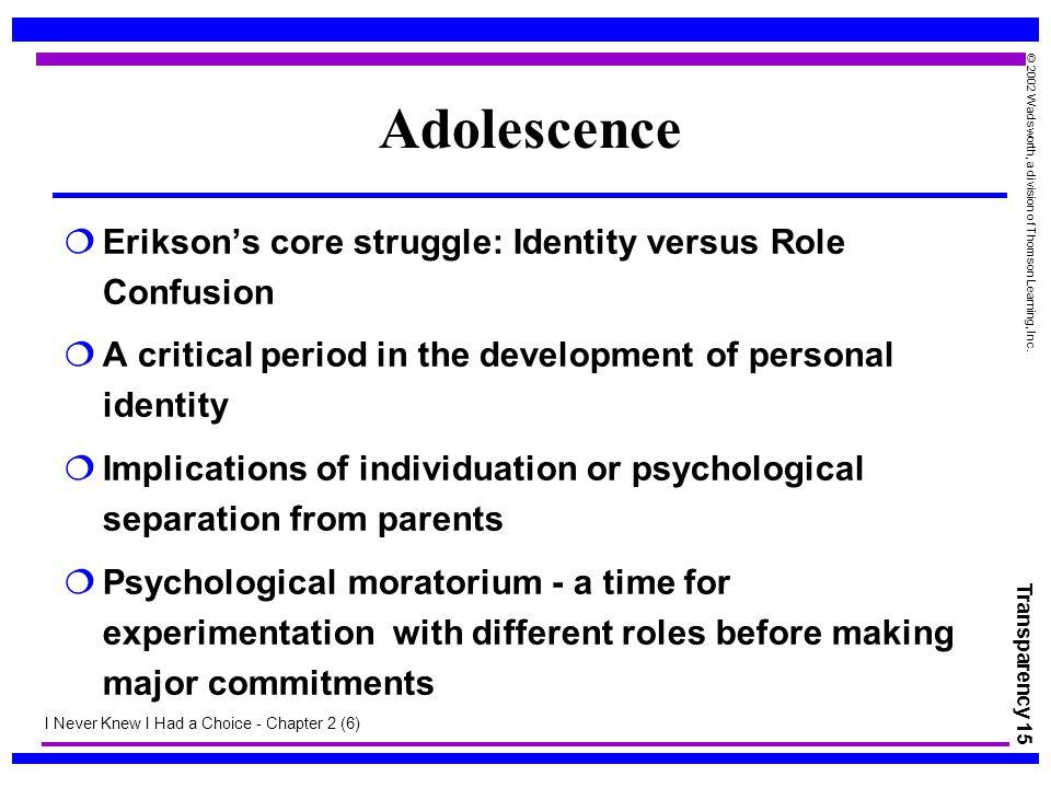 Adolescence Erikson's core struggle: Identity versus Role Confusion