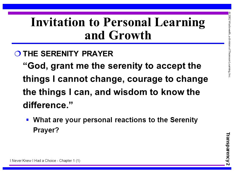 Invitation to Personal Learning and Growth