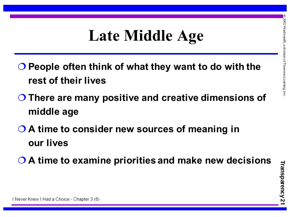 Late Middle Age People often think of what they want to do with the rest of their lives.