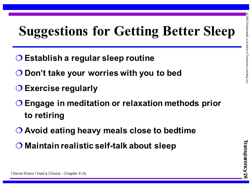 Suggestions for Getting Better Sleep