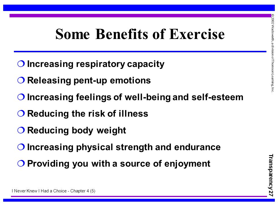 Some Benefits of Exercise