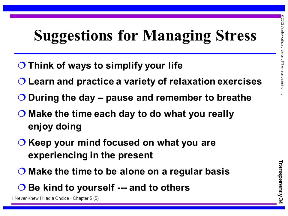 Suggestions for Managing Stress