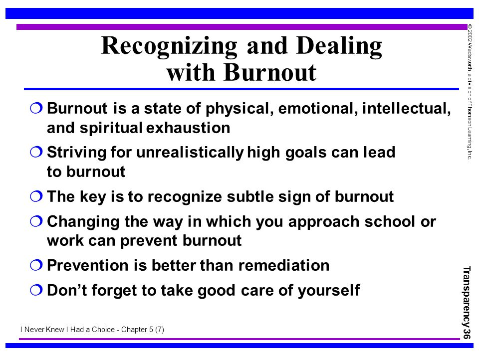 Recognizing and Dealing with Burnout