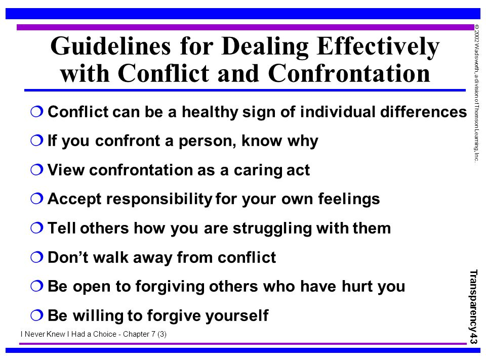 Guidelines for Dealing Effectively with Conflict and Confrontation