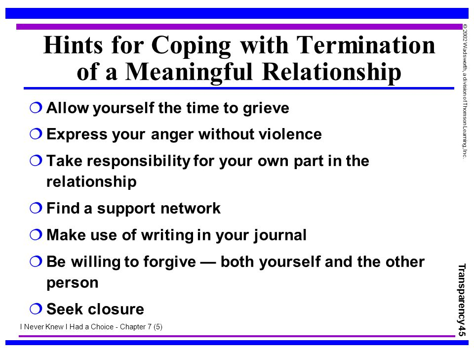 Hints for Coping with Termination of a Meaningful Relationship