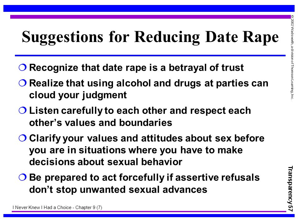 Suggestions for Reducing Date Rape