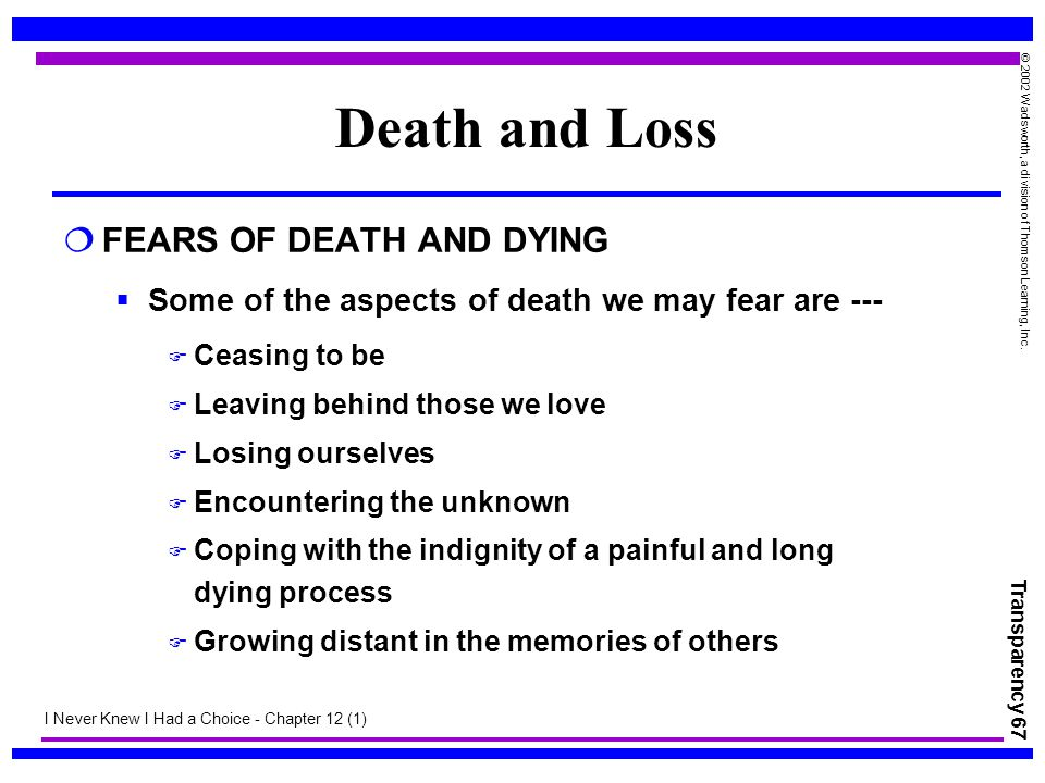 Death and Loss FEARS OF DEATH AND DYING