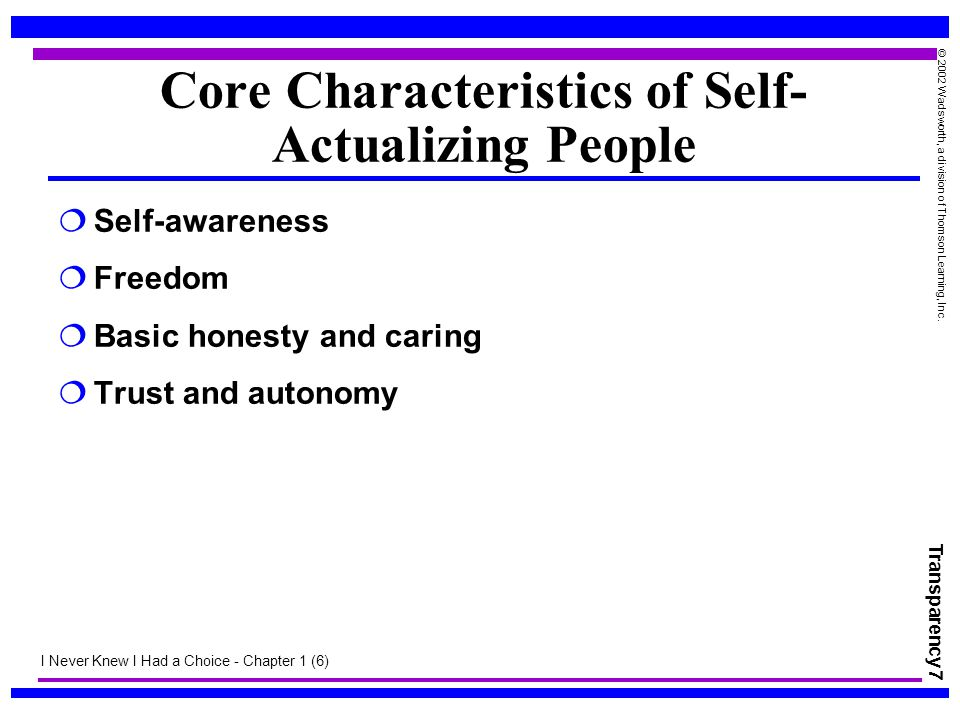 Core Characteristics of Self-Actualizing People