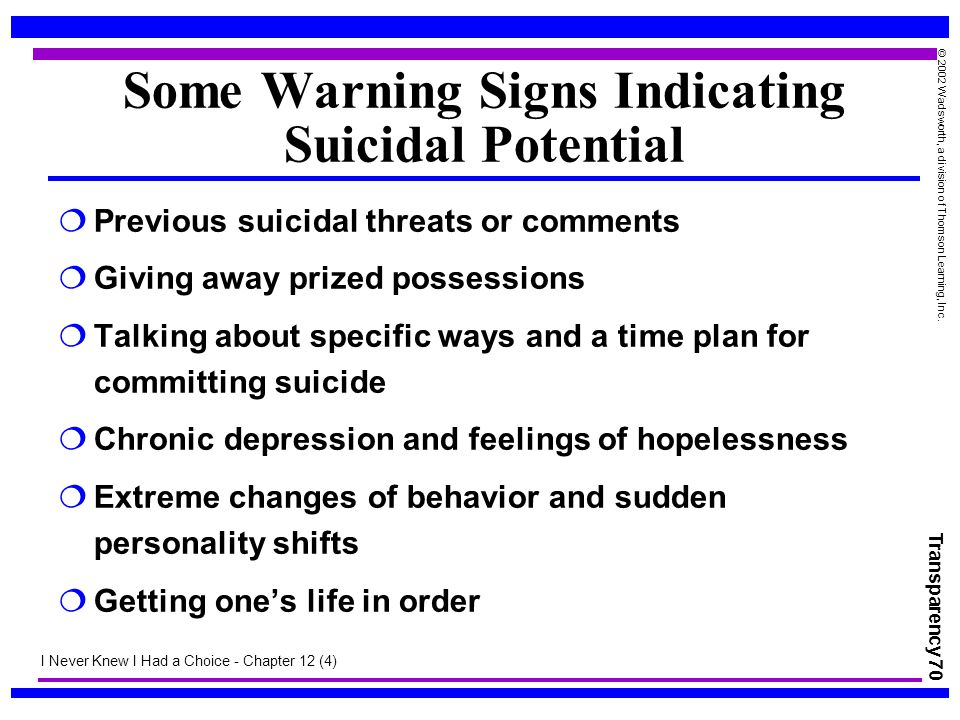 Some Warning Signs Indicating Suicidal Potential
