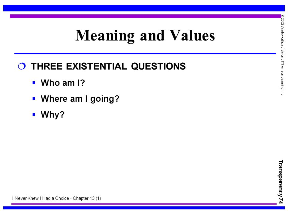 Meaning and Values THREE EXISTENTIAL QUESTIONS Who am I