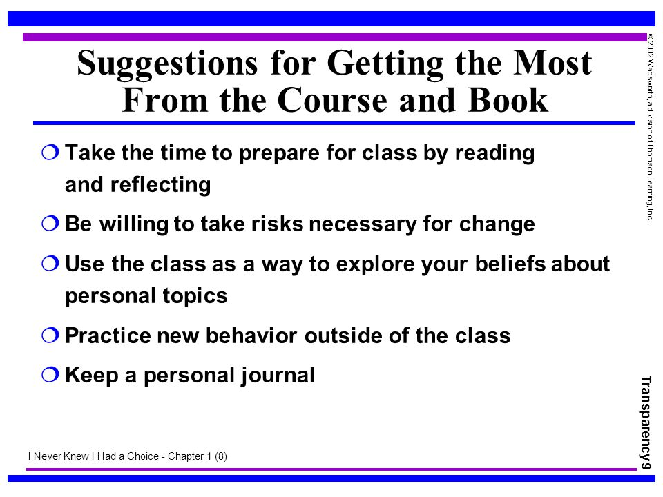 Suggestions for Getting the Most From the Course and Book
