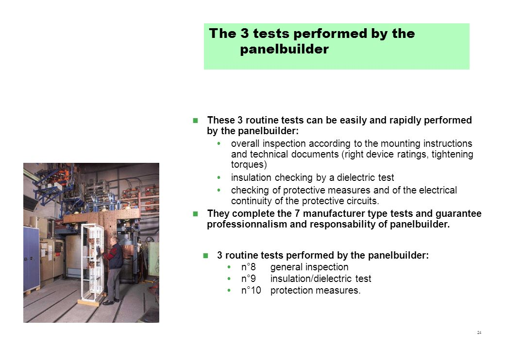 The 3 tests performed by the panelbuilder