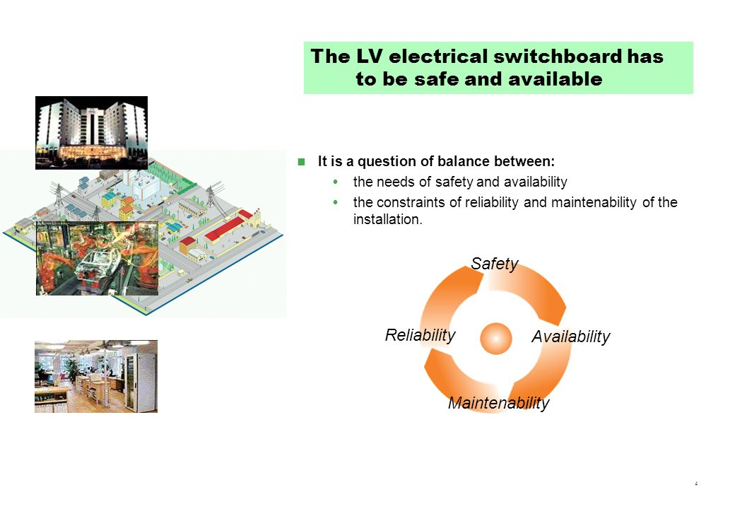The LV electrical switchboard has to be safe and available