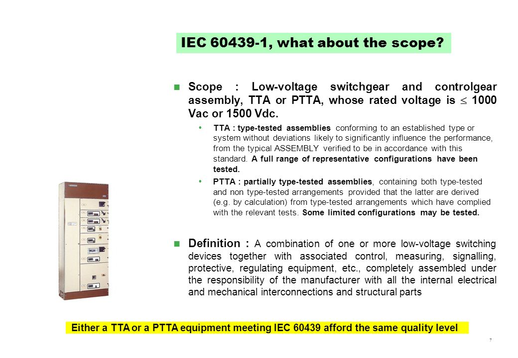 IEC 60439-1, what about the scope