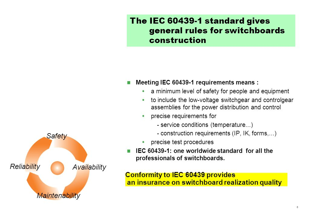 The IEC 60439-1 standard gives general rules for switchboards construction