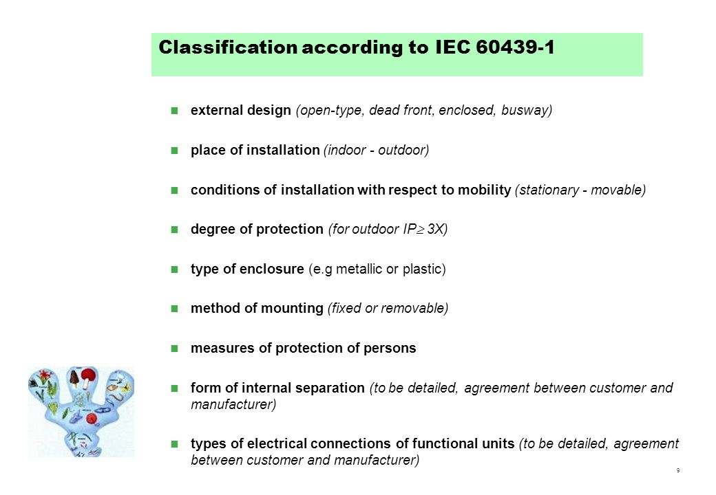 Classification according to IEC 60439-1