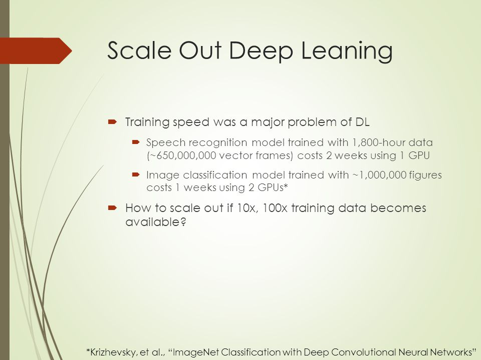 Scale Out Deep Leaning Training speed was a major problem of DL
