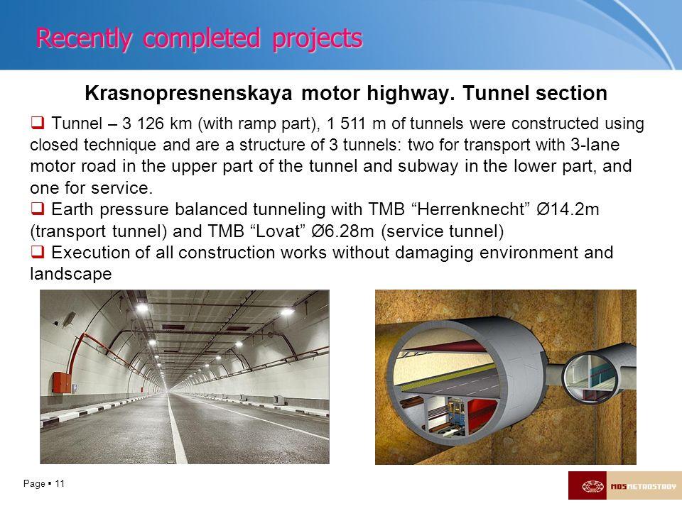 Krasnopresnenskaya motor highway. Tunnel section