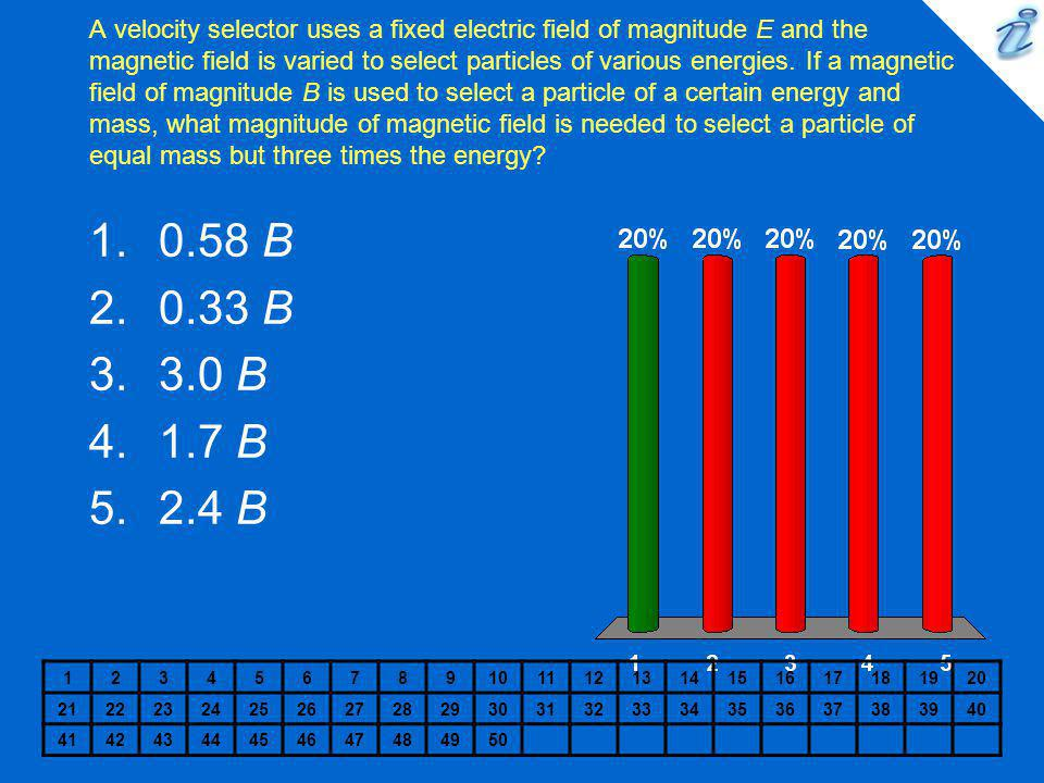 A velocity selector uses a fixed electric field of magnitude E and the magnetic field is varied to select particles of various energies. If a magnetic field of magnitude B is used to select a particle of a certain energy and mass, what magnitude of magnetic field is needed to select a particle of equal mass but three times the energy