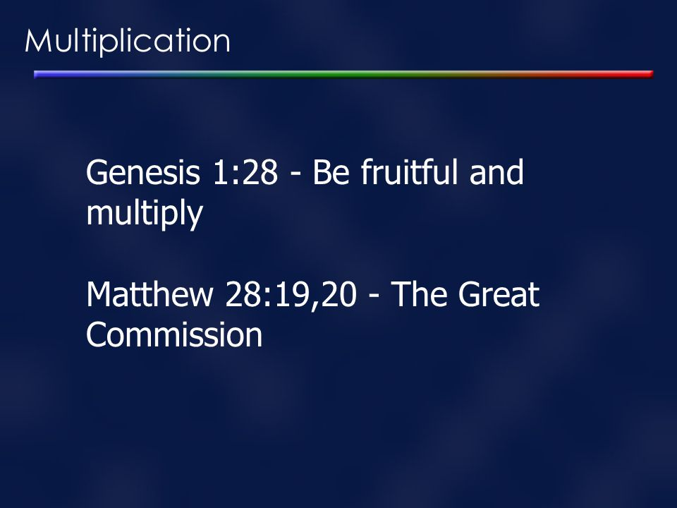 Genesis 1:28 - Be fruitful and multiply
