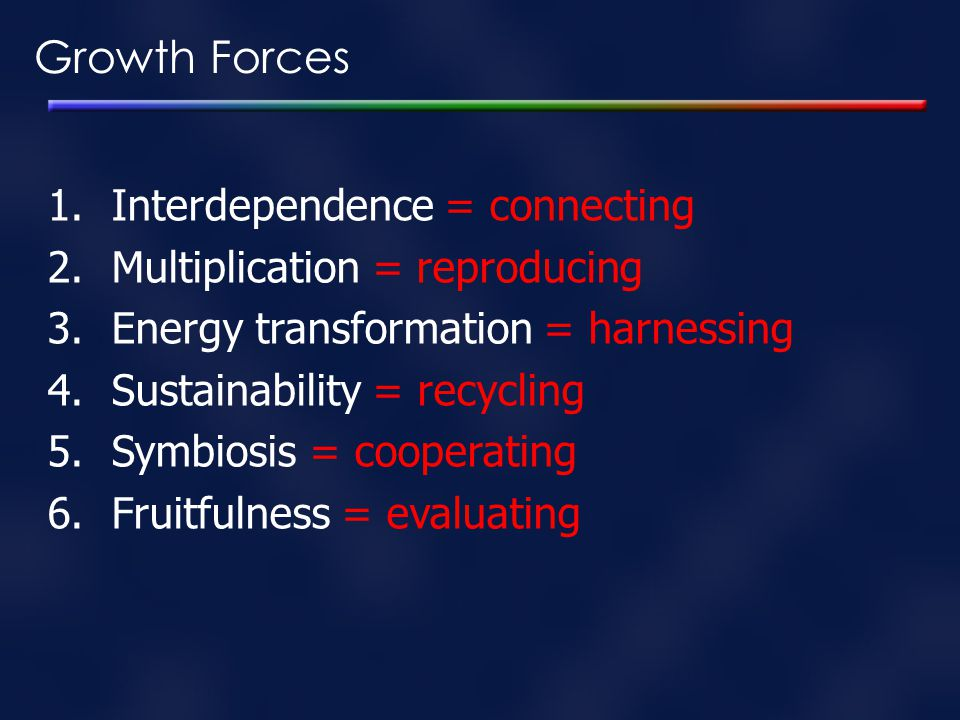 Growth Forces Interdependence = connecting