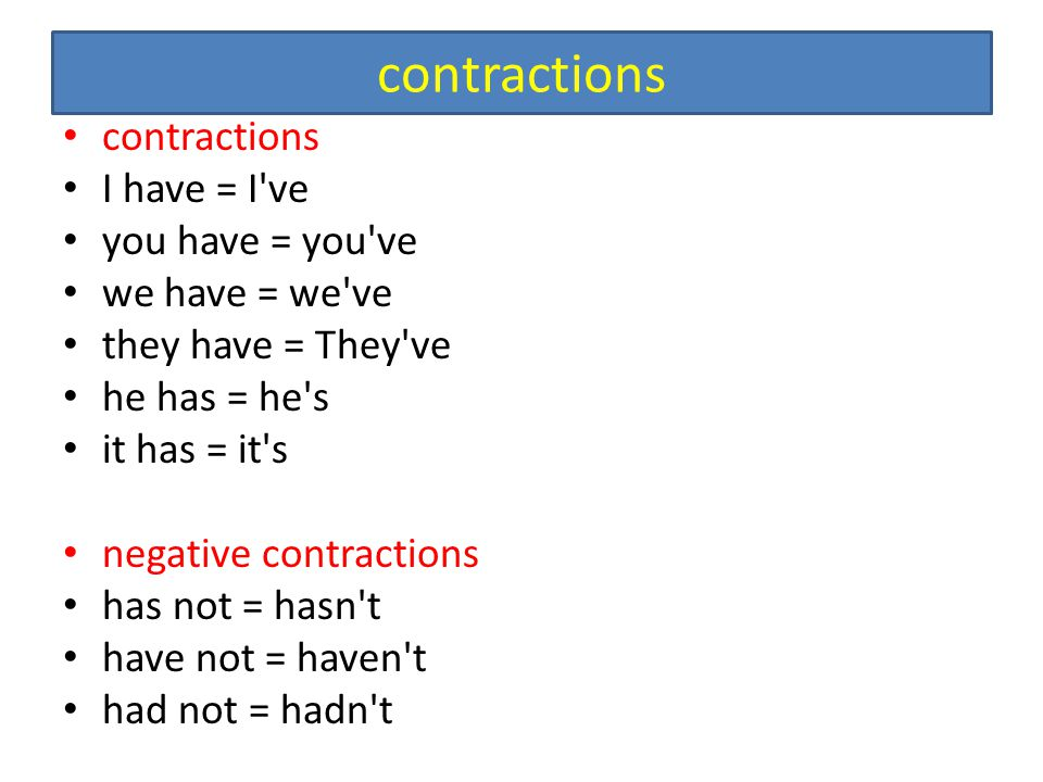 contractions contractions I have = I ve you have = you ve