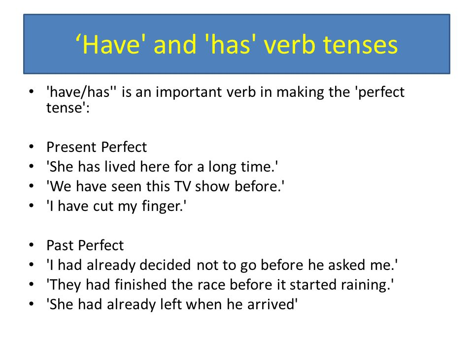 'Have and has verb tenses