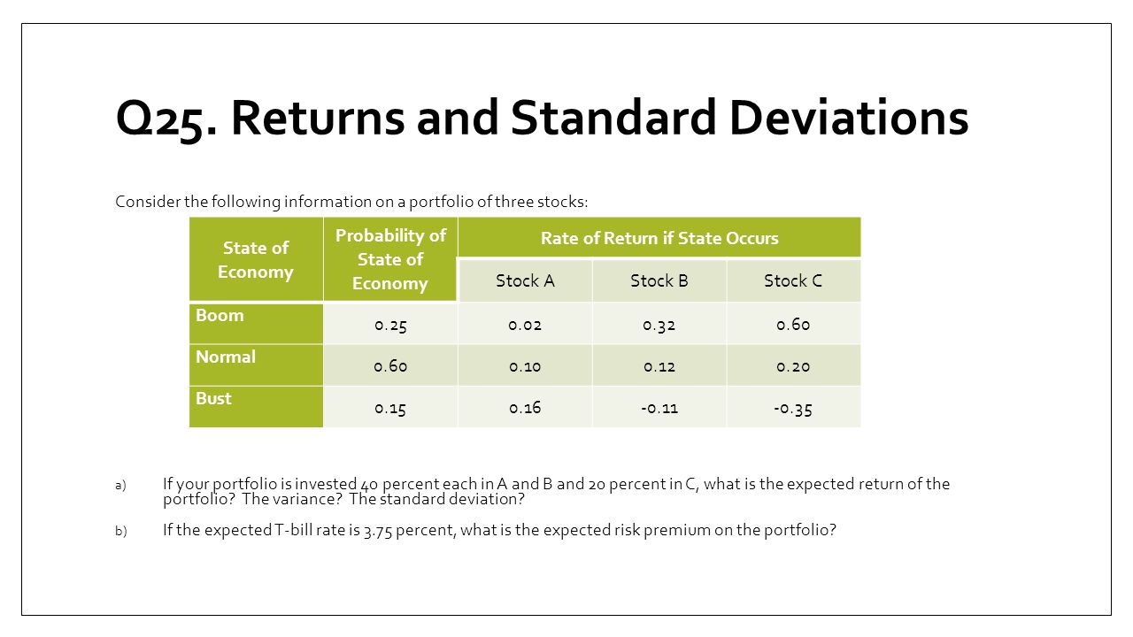 Q25. Returns and Standard Deviations